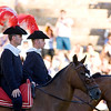 The alguacilillos or horseback officers, leading the paseillo or initial parade of a bullfight, Real Maestranza bullring, Seville, autonomous community of Andalusia, southern Spain