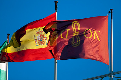 The flags of the city of Seville (right) and Spain (left), Seville, autonomous community of Andalusia, southern Spain