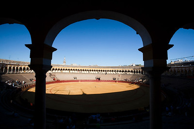 Real Maestranza bullring, Seville, autonomous community of Andalusia, southern Spain. The Giralda tower on the background
