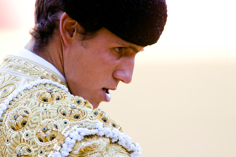 Close-up of a bullfighter, Real Maestranza bullring, Seville, autonomous community of Andalusia, southern Spain
