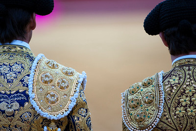 Couple of bullfighters with details of their trajes de luces or traditional dresses, Real Maestranza bullring, Seville, autonomous community of Andalusia, southern Spain