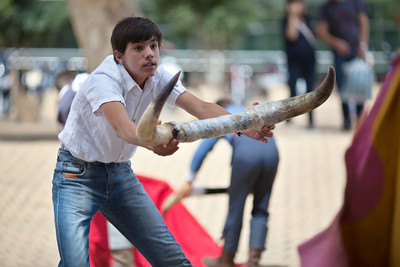 """Young apprentice bullfighters performing """"toreo de salon"""" or training with a fake bull. Alameda de Hercules square, Seville, Spain"""