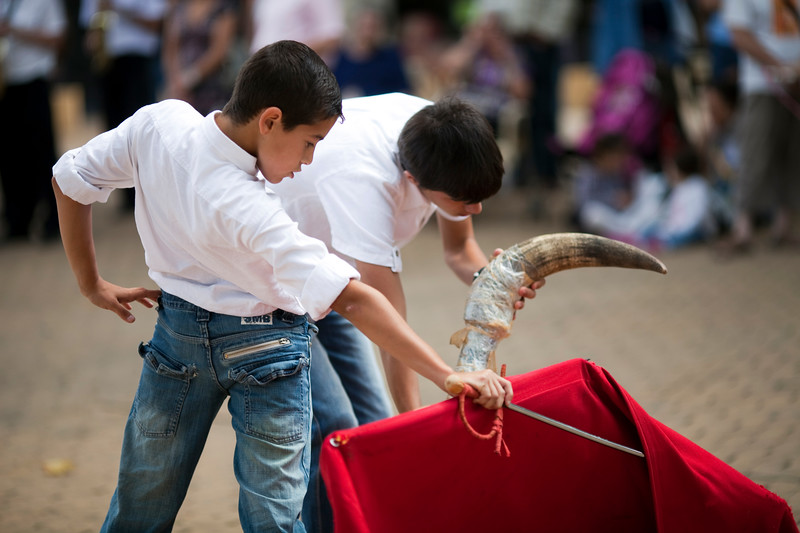 "Young apprentice bullfighters performing ""toreo de salon"" or training with a fake bull. Alameda de Hercules square, Seville, Spain"