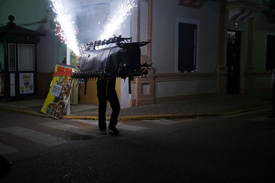 Toro de Fuego (Bull of Fire) is a traditional amusement for festivals, consisting in a framework shaped like a bull and covered with fireworks like firecrackers and small rockets which are thrown against the audience. Town of Aznalcazar, province of Seville, Andalusia, Spain
