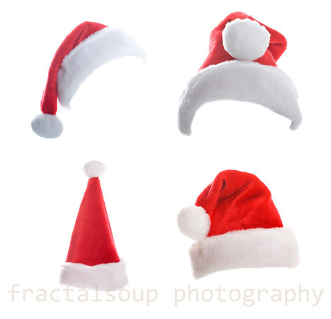Multiple Christmas Hats Isolated on White Background
