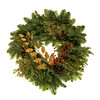 Christmas Wreath with Pine Cones, Berries and Holly isolated on white