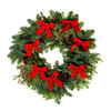 Christmas Wreath with Red Bows Isolated on White