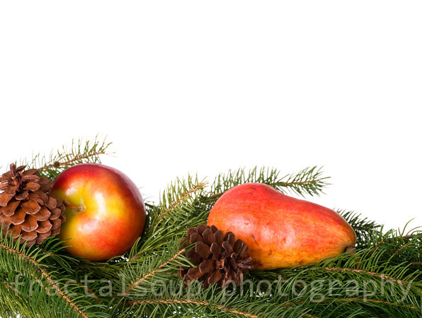 Apple and Pear nestled in Greenery and Pine Cones