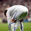 Cristiano Ronaldo preparing the ball for a free kick, UEFA Champions League Semifinals game between Real Madrid and FC Barcelona, Bernabeu Stadiumn, Madrid, Spain