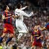 Busquets and Ronaldo jumping, UEFA Champions League Semifinals game between Real Madrid and FC Barcelona, Bernabeu Stadiumn, Madrid, Spain