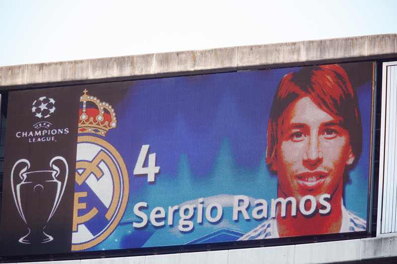 The image of Sergio Ramos on the electronic scoreboard before the UEFA Champions League Semifinals game between Real Madrid and FC Barcelona, Bernabeu Stadiumn, Madrid, Spain