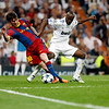 Messi trying to dribble past Lassana Diarra, UEFA Champions League Semifinals game between Real Madrid and FC Barcelona, Bernabeu Stadiumn, Madrid, Spain