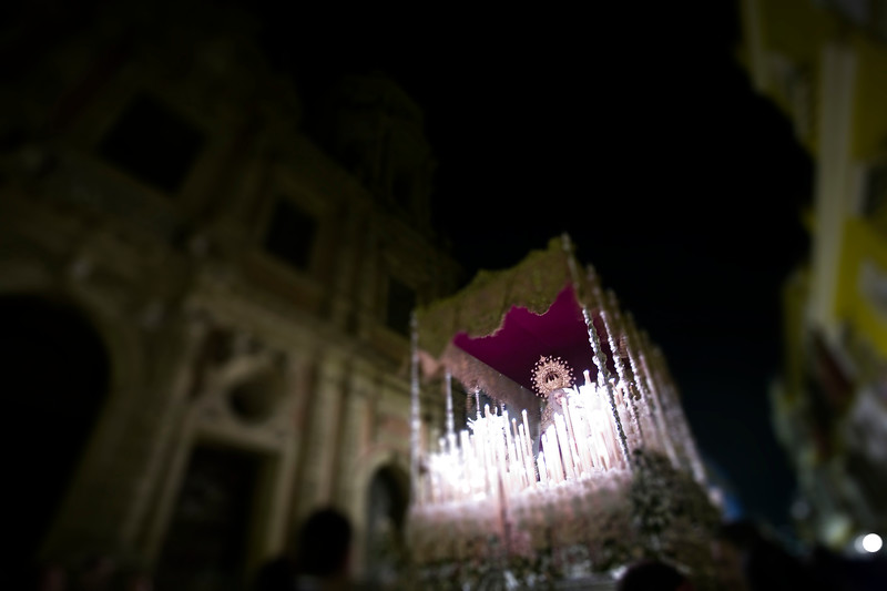 Float with the Virgin by night, Holy Week, Seville, Spain