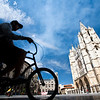 Cyclist passing by the Cathedral, town of Leon, autonomous community of Castilla y Leon, northern Spain
