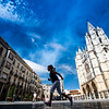 Little girl running in front of the Cathedral, Town of Leon, autonomous community of Castilla y Leon, northern Spain