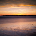 Sunset on the beach. Long exposure shot.