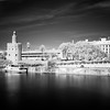 Infrared image of yhe Golden Tower (12th century Moorish building) by the Guadalquivir river, Seville, Spain.