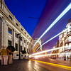 Light trails of a streetcar on Constitution Avenue, Seville, Spain