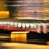 Panning shot of a train by night, Berlin, Germany