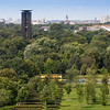 View of Tiergarten from the Reichstag terrace, with the Carillon tower on the background, Berlin, Germany