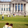 People in front of the Reichstag, Berlin, Germany. Tilted lens used for shallow depth of field