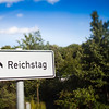 Sign pointing to the Reichstag building, Tiergarten park, Berlin, Germany
