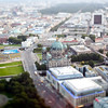 Aerial view of the Berliner Cathedral and Unter den Linden area from the TV Tower of Berlin, Germany. Tilted lens used for a shallower depth of field and to create, combined with the aerial view, a miniaturization effect.