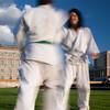People practicing martial arts, Schlossplatz, Berlin, Germany