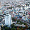 Aerial view of Dirkenstrasse area from the TV Tower, Berlin, Germany. Tilted lens used for a shallower depth of field and to create, combined with the aerial view, a miniaturization effect.