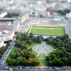 Aerial view from the TV Tower of the Marx-Engels-Forum park, Berlin, Germany. Tilted lens used for a shallower depth of field and to create, combined with the aerial view, a miniaturization effect.