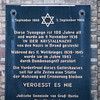 Plaque reminding the New Synagogue foundation and some historical facts like the Kristallnacht, Berlin, Germany