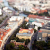 Aerial view from the TV Tower of Berlin Mitte, with the focus on the Franziskaner-Klosterkirche ruins on the foreground, Germany. Tilted lens used for a shallower depth of field and to create, combined with the aerial view, a miniaturization effect.