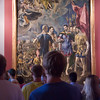 Visitors admiring a painting by El Greco, El Escorial, Madrid
