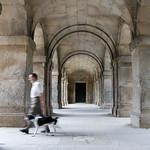 Man walking the dog, El Escorial, Spain