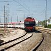 Local train arriving to El Puerto de Santa Maria, Spain