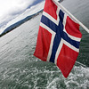 The Norwegian flag on the stern of a boat