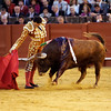 Manuel Jesus El Cid performing a derechazo or right hand bullfight