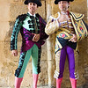 The Spanish bullfighter Fernando Robleno and an assistant ready for the paseillo or initial parade of a bullfight