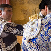 Bullfighters getting dressed for the paseillo or initial parade