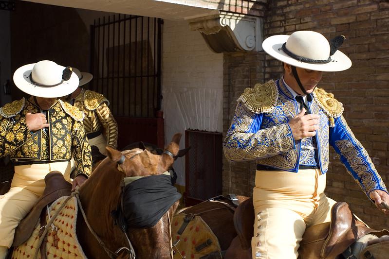 Picadores praying during the paseillo or initial parade