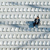 Lonely man on a stadium stands