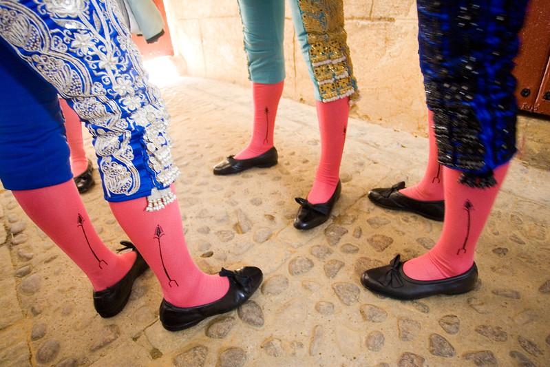 Detail of the legs of bullfighters, Maestranza bullring, Seville, Spain