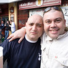 A couple of Tottenham fans drinking beer on Seville streets, Spain