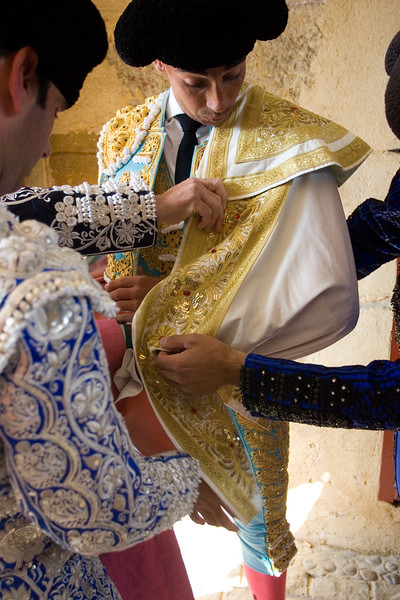 Curro Diaz, Spanish bullfighter, getting dressed for the paseillo or initial parade