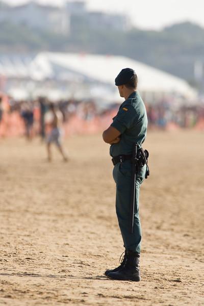 Civil guard watching on the beach, Sanlucar de Barrameda, Spain