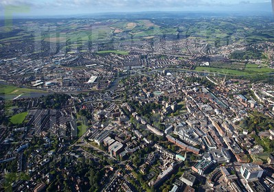 Exeter aerial - Cathedral, West of River
