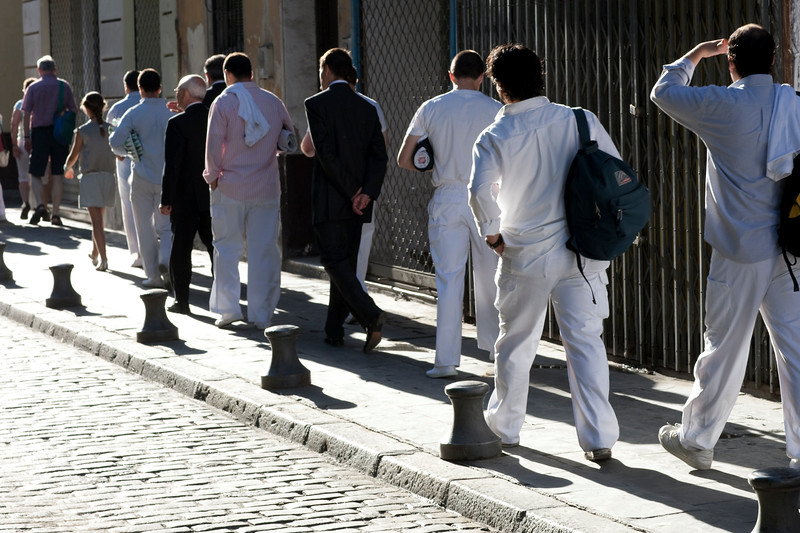 Costaleros (float bearers) going to the church for the Corpus Christi procession, Seville, Spain, 2009.