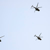 Three helicopters. Taken in Seville (Andalusia, Spain) during a military parade of the Spanish army, 28 May 2006.