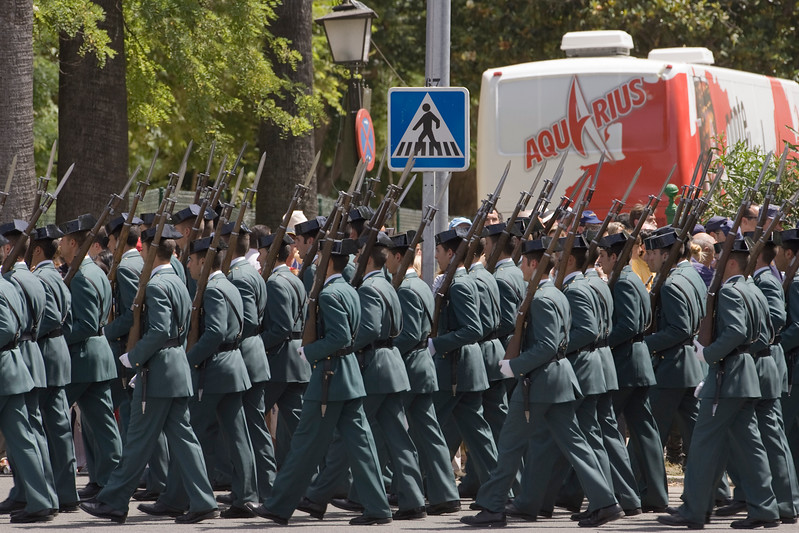 Civil Guards marching. Taken in Seville (Andalusia, Spain) during a military parade of the Spanish army, 28 May 2006.