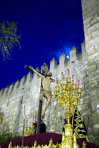 Christ of Mercy, a 17th century carving by Pedro Roldan, on a float on Holy Tuesday, Seville, Spain